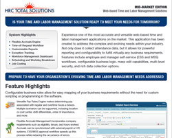A screenshot of HRC Total Solutions pdf for web-based time and labor management solutions.